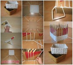 Como hacer canastas Balkon – home accessories Plastic Straw Crafts, Diy Straw, Do It Yourself Projects, Projects To Try, Straw Projects, Cane Baskets, Paper Basket, Diy Photo, Basket Weaving