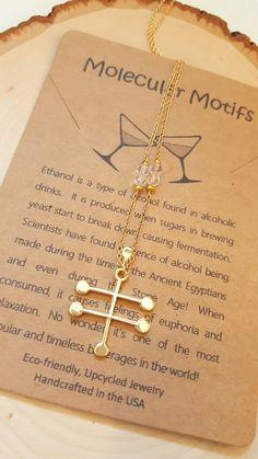 Crystal Quartz Ethanol Vodka Alcohol Molecule Science Chemistry Gift Necklace with Gemstones by MolecularMotifs on Etsy