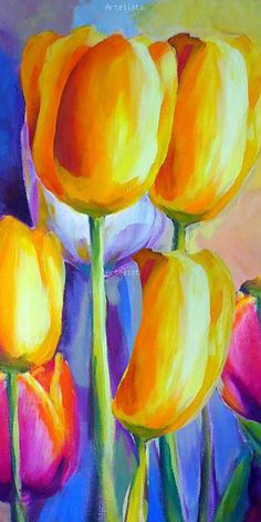 Sylvester Stallone's Life Story - Blumen ideen Tulipanes Tulipanes The post Tulipanes appeared first Tulip Painting, Spring Painting, Acrylic Painting Canvas, Acrylic Art, Canvas Art, Painting Abstract, Painting Art, Oil Pastel Paintings, Oil Pastel Art