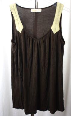 Micheal Kors Womens Brown Sleeveless Knit Top Gold Braid Size Medium Rayon Blend #MichaelKors #KnitTop #Versatile