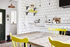 white and yellow kitchen decor