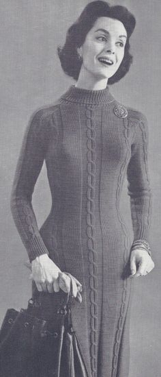 Vintage Cable Sweater Dress Knitting Pattern