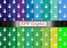 Set of 16 Christmas Snowmen on green and blue by KPWgraphics