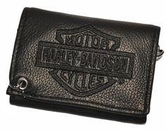 Harley Davidson® Men's Tri-Fold Biker Chain Wallet. Embroidery. TC813H-2B