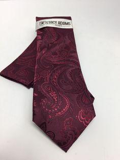 Stacy Adams Tie & Hanky Set Solid Burgundy Paisley Men's 100% Microfiber New #StacyAdams #TieHankySet