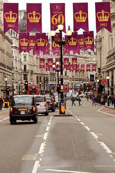 Regent Street, London, England decked out in celebration of the 60-year anniversary of Elizabeth II's reign by Rosetta Bonatti   - Explore the World with Travel Nerd Nici, one Country at a Time. http://TravelNerdNici.com