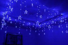 "LED ljusslingor gardin 90 Ljus Fem-pekade Stjärnor 4m x 0.7m med 8-mode kontroller | led string lights with ""falling"" stars"