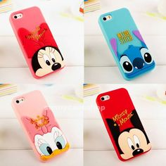 Cute Disney Cartoon Minnie Stitch Soft Silicone Case cover for iphone 5s 5g 4S