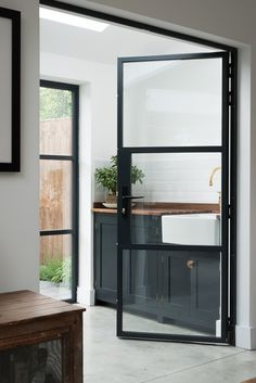Modern Interior Doors Custom Made With A Minimalist Door Frame. Modern Interior Doors With An Invisible Door Frame. New Crittall Style Glass Paritions Doors! Home and Family Devol Shaker Kitchen, Modern Shaker Kitchen, Orangerie Extension, Kitchen Doors, Pantry Doors, Kitchen Cupboards, Closet Doors, The Design Files, Steel Doors