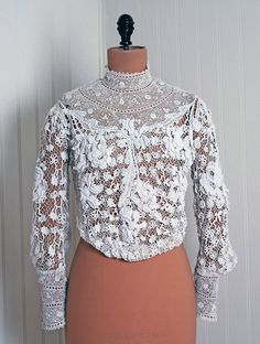 Handmade Irish Crochet Lace.  Vintage 1910.  May want to remove the top two rows at the neckline, and one at the cuffs ... but otherwise, it's darling!  @  TimelessVixenVintage on www.Etsy.com  $660.