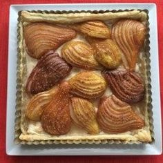 Hasselback pears are arranged on a sweet cream cheese filling in a puff pastry in this gourmet pear tart that is great for fall celebrations. Sweets Recipes, Just Desserts, Delicious Desserts, Pear Recipes, Luncheon Recipes, Pear Dessert, Bartlett Pears, Pear Tart, Thanksgiving Desserts