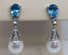 Estate 14K WHITE GOLD Genuine BLUE TOPAZ & DIAMOND PEARL DROP/DANGLE EARRINGS #RTI #DropDangle