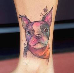 Russell Van Schaick is kicking ass with his phenomenal watercolor tattoos. This perfect dog portrait watercolor tattoo is one of the 59 mesmerising watercolor tattoos we have to show you. Thanks for caring, thanks for sharing. French Bulldog Tattoo, French Tattoo, Bulldog French, Watercolor Tattoo Artists, Watercolor Portraits, Dog Tattoos, Cat Tattoo, Tatoos, Chihuahua Tattoo