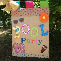 Pool Party Garden Flag Burlap Pool Party by TallahatchieDesigns