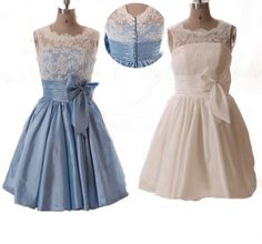 Lace Vintage Cute Bow Knot Short Bridesmaid Dresses Bateau Neck Lace Covered Prom Dress Retro Buttons and V-neck Back Semi Formal Dress