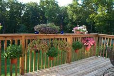 Holder For Deck Balusters - Fits Flower Pots - Meric Products - Flower Pot Bracket - 2 Plants On Deck, Potted Plants, Deck Plants Ideas, Deck Planters, Planter Boxes, House Plants, Deck Balusters, Patio Deck Designs, Porch Designs