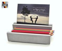 Bürodeko Stiftablage mit Kartenhalter, Steinguss in Betonoptik, Amazon.de: Bürobedarf & Schreibwaren