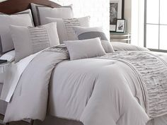 Marilyn Embellished Linen 8-pc Comforter Set-Grey-Queen for $59.99