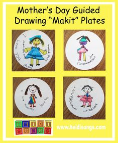Mother's Day Guided Drawing PLATES!   Heidi Songs