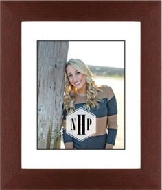 Deco Monogram Framed Print, Brown, Contemporary, Black, White, Single piece, 8 x 10 inches, White