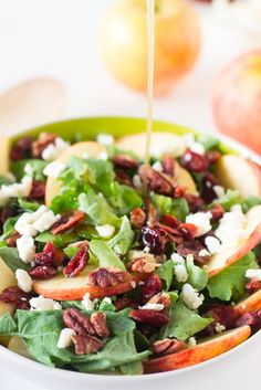 Apple Pecan and Feta Salad with Honey Apple Dressing is loaded with fall flavours and is sweet, crunchy and good for you! #apple #salad #fall #healthy #vegetarian