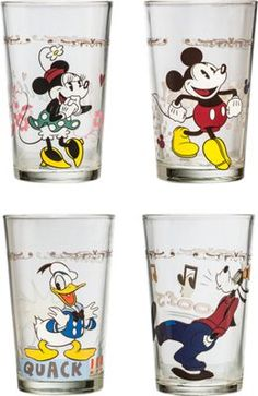Mickey Mouse glasses colorfully decorated with a different Disney character - Mickey, Minnie, Goofy and Donald Duck. Collectible juice glasses featuring Mickey Mouse and friends come in set of 4.