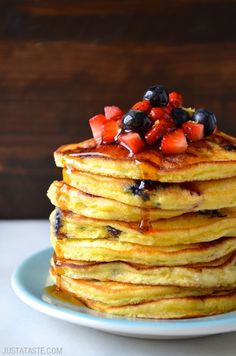 Mixed Berry Ricotta Pancakes Recipe from  @justataste