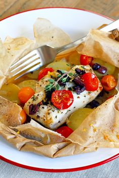 Two of a Kind | Mediterranean Cod en Papillote | http://www.twoofakindcooks.com
