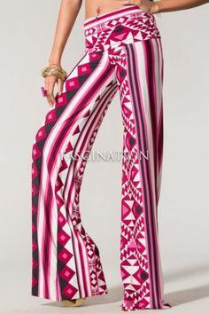 Womens Hot New Trend Aztec Print Palazzo Pants s M L Choose Your Size   eBay