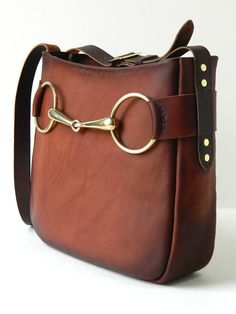 Vegetable Tanned Leather Crossbody with Solid Brass Horse Bit by GillieLeather on Etsy
