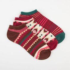 FULL TILT 3 Pairs Southwest Womens No Show Socks