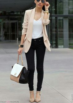 a not too formal corporate attire, can easily turn into a casual one without the coat. good for work and then party later