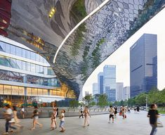 hangzhou raffle city - Google Search China Architecture, Architecture Details, Government Architecture, Hangzhou, Shenzhen, Facade Lighting, Central Business District, Sculpture, Park City