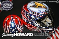 So many great masks, by so many different great artists! If you are feeling inspired by these patriotic masks and want to get your OWN Custom Personalized Olympic mask done, just give us a msg!   www.goaliemaskcollector.com  #olympic #mask #goaliemask #helmet #goalie #mtl316.com #goaliemaskcollector #howard