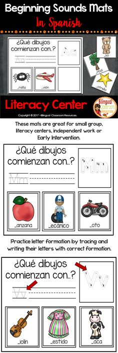 This activity is perfect for practicing beginning sounds in Spanish-Sonidos iniciales. Students will find the 3 picture cards that begin with the letter on the mat. Then they will practice letter formation by tracing the letter on the mat. #initialsoundsinspanish #literacycenters #alphabetprintables #alphabetactivities #educación #juegodesonidosiniciales #elementaryschool #sonidosiniciales #identificaciondesonidosiniciales #sonidosinicialesactividades #actividadesconsonidosiniciales Learning Resources, Fun Learning, Classroom Resources, Classroom Ideas, 3 Picture, Picture Cards, Teaching Spanish, Spanish Lessons, Creative Teaching