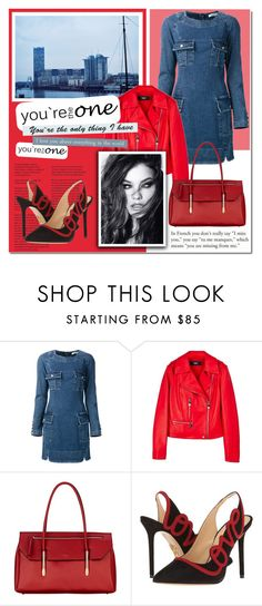 """""""Red&Denim"""" by beograd-love ❤ liked on Polyvore featuring Pierre Balmain, Versus, Fiorelli, Vince and Charlotte Olympia"""