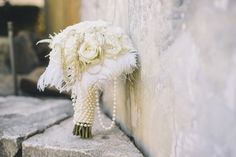 Vintage Estate Wedding. Vintage inspired white ivory wedding bouquet flowers with pearls & feathers. Photo @studiothp. Wedding Planner @ColeDrakeEvents. Floral @fleursdefrance Fleurs de France - Sonoma, Napa Valley, Calistoga, Healdsburg, St Helena, Wine Country, Wedding Florist, Wedding Flowers & Event Designer