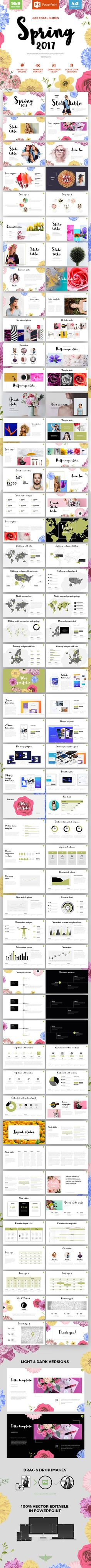 "Buy Spring 2017 - Powerpoint template by bagd on GraphicRiver. About ""Spring is a multipurpose modern powerpoint template perfect for your business tasks or personal use. Powerpoint Themes, Creative Powerpoint, Powerpoint Presentation Templates, Web Design, Book Design, Layout Design, Layout Template, Keynote Template, Photo Images"