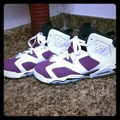 5376f0eedefa Shoes (Jordans) Purple black and white only been worn a couple times still  n good shape Jordan Shoes