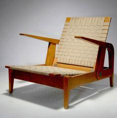 Egon Eiermann; Ash, Cotton Webbing and Steel 'Haus Hesse' Armchair by Otto Judersleben, 1932.