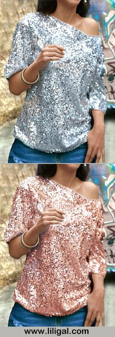 Sequin tops, skew neck sequin tops, sequin party tops         #liligal #tees #tshirt #top #womenswear #womensfashion