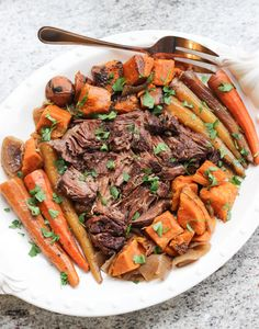 Paleo Slow Cooker Pot Roast - This healthy dinner recipe is the perfect comfort meal!