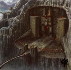 "The entrance to the dwarven kingdom of Buzinbar, ruled by King Throri of Clan Murdinron, uncle to Geofrick. It is carved into the side of the mountain Bizarak. Atop the mountain sits a rock gnome keep, and the two are connected, having grown together over the centuries. Geofrick searches for a book, ""The Abyssal Scripture of Kheli"", which tells of the omens for the end time in the Prophecy of Asmadan. It is the most treasured possession of Throri, but he hopes to convince him of his need."