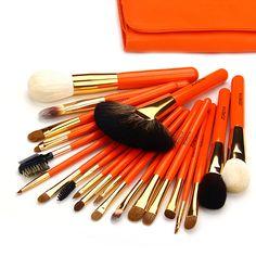 Zoreya Professional Make up Brushes Orange Make up Kwasten Set Full 22 Natural Makeup Brushes & Tools