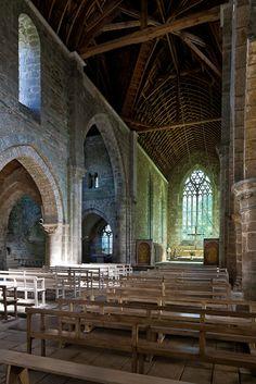 Nave, Eglise abbatiale Notre-Dame de Boquen, Plénée-Jugon (Côtes-d'Armor)  Photo by PJ McKey