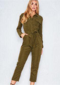 ac5920e483d8 Tamsin Khaki Suedette Utility Jumpsuit Missy Empire Suede Fabric