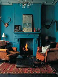 Teal Living Rooms, Blue Rooms, Beautiful Living Rooms, Living Spaces, Blue Bedroom, Blue And Orange Living Room, Bedroom Sets, Bedroom Colors, Bedroom Wall