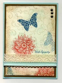 Creative Elements Sympathy--Stamps: Creative Elements, Teeny Tiny    Paper: P Party, V Vanilla S Suede    Ink: S Suede, C Coral, I Indigo    Accessories: SU lace, Ribbon from stash, Brads    Techniques: Sponging / stamping