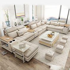 Corner Sofa Design, Sofa Bed Design, Living Room Sofa Design, Bedroom Bed Design, Home Room Design, Small Room Design, 7 Seater Living Room, Modern Sofa Designs, Modern Sofa Sets