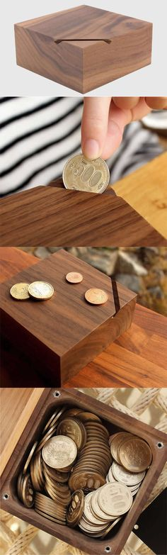 Black Walnut Office Desk Organizer Stroage Box Wooden Piggy Bank Coin Bank Money Saving Box